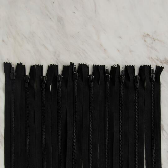 Loren 10 adet 20 Cm Siyah Dipli Naylon Fermuar