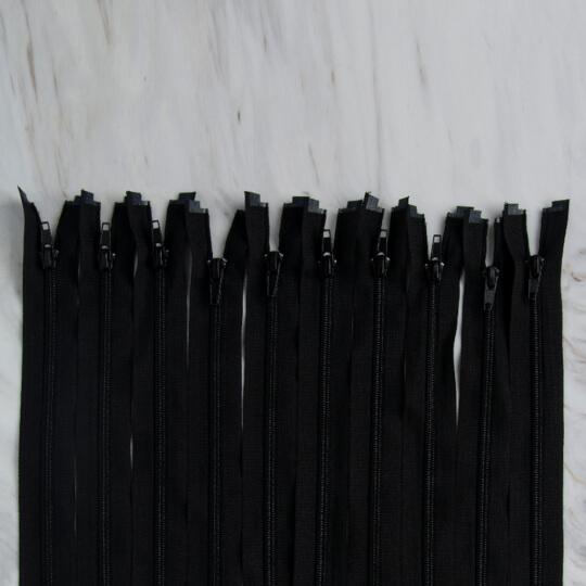 Loren 10 adet 35 Cm Siyah Separe Naylon Fermuar