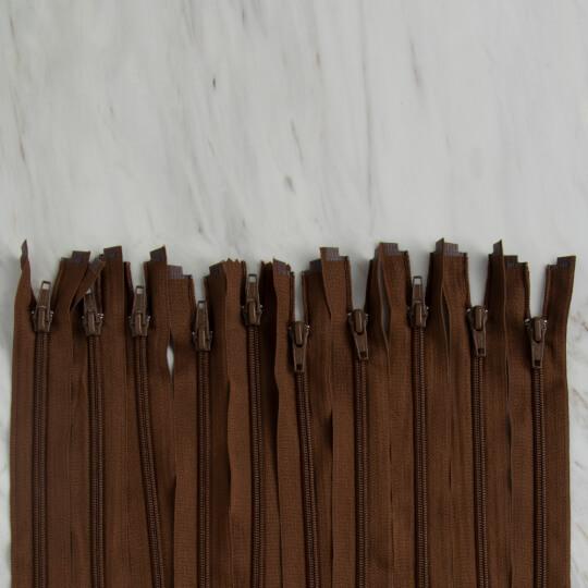 Loren 10 adet 35 Cm Kahverengi Separe Naylon Fermuar