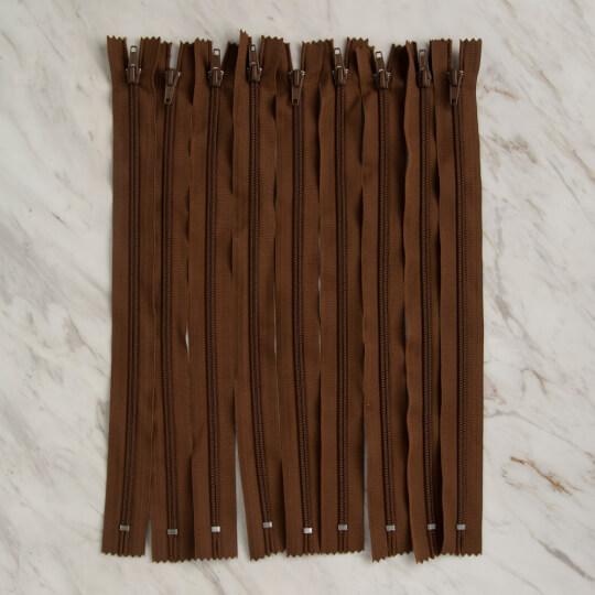 Loren 10 adet 35 Cm Kahverengi Dipli Naylon Fermuar