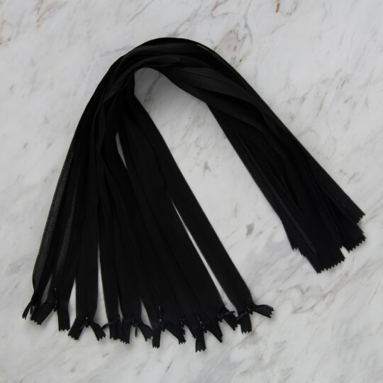 Loren 10 adet 60 Cm Siyah Gizli Dipli Naylon Fermuar