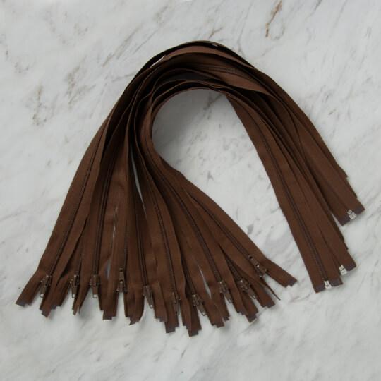 Loren 10 adet 60 Cm Kahverengi Separe Naylon Fermuar