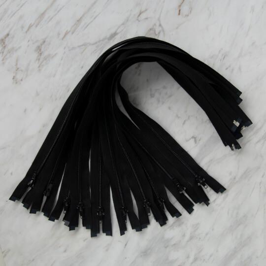 Loren 10 adet 50 Cm Siyah Separe Naylon Fermuar