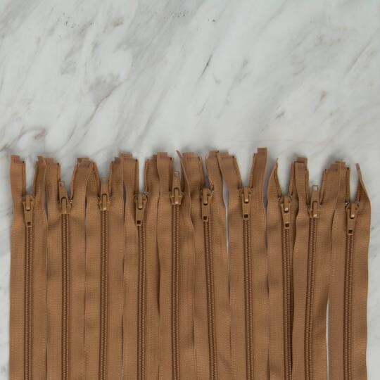 Loren 10 adet 70 Cm Açık Kahverengi Separe Naylon Fermuar