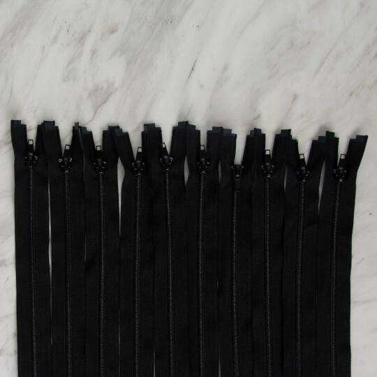 Loren 10 adet 70 Cm Siyah Separe Naylon Fermuar