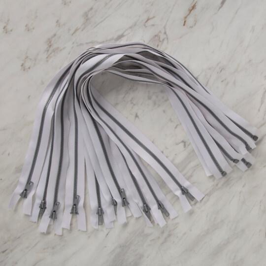 Loren 10 adet 60 Cm Beyaz Separe Kemik Fermuar