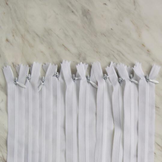 Loren 10 adet 18 Cm Beyaz Gizli Dipli Naylon Fermuar
