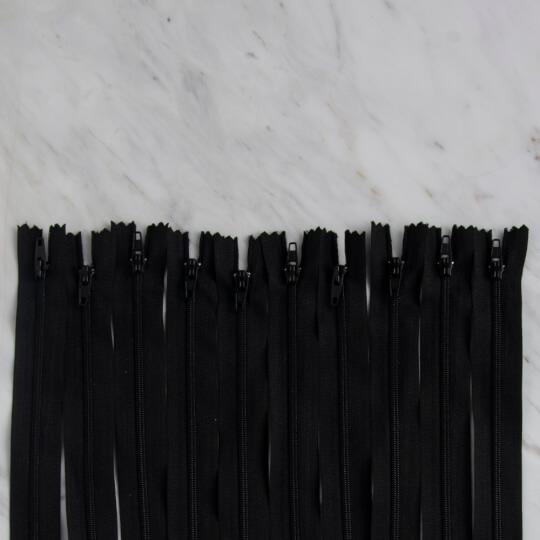 Loren 10 adet 18 Cm Siyah Dipli Naylon Fermuar