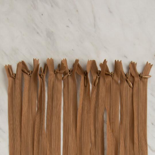 Loren 10 adet 30 Cm Açık Kahverengi Gizli Dipli Naylon Fermuar