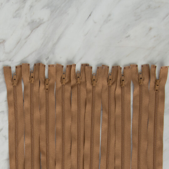 Loren 10 adet 60 Cm Açık Kahverengi Separe Naylon Fermuar