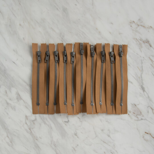 Loren 10 adet 14 Cm Açık Kahverengi Dipli Kemik Fermuar