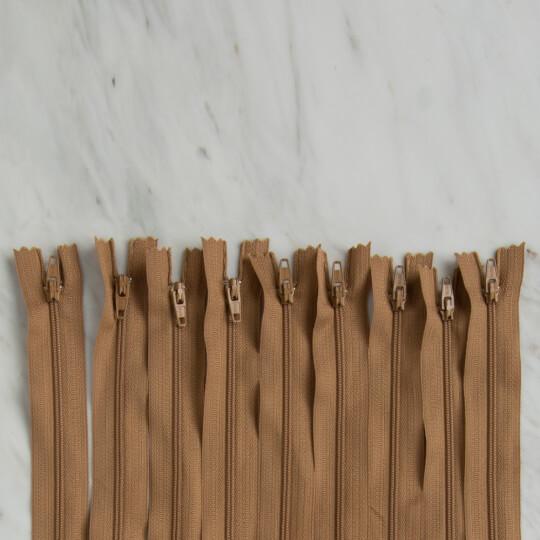 Loren 10 adet 30 Cm Açık Kahverengi Dipli Naylon Fermuar