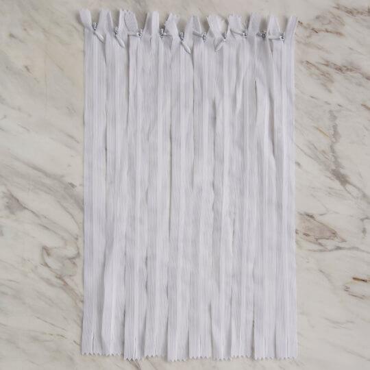 Loren 10 adet 35 Cm Beyaz Gizli Dipli Naylon Fermuar