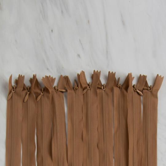 Loren 10 adet 35 Cm Açık Kahverengi Gizli Dipli Naylon Fermuar