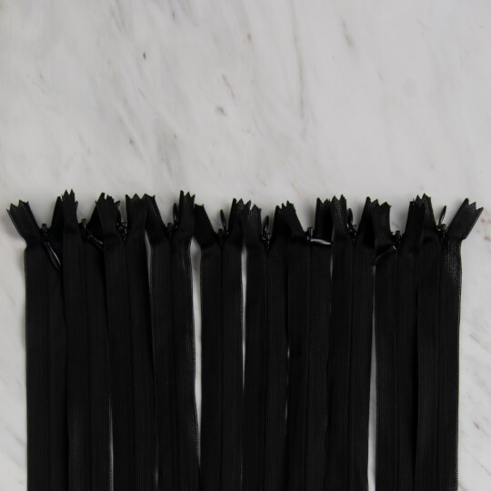 Loren 10 adet 30 Cm Siyah Gizli Dipli Naylon Fermuar