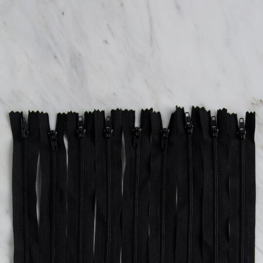 Loren 10 adet 30 Cm Siyah Dipli Naylon Fermuar