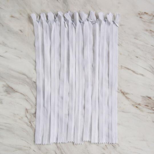 Loren 10 adet 30 Cm Beyaz Gizli Dipli Naylon Fermuar