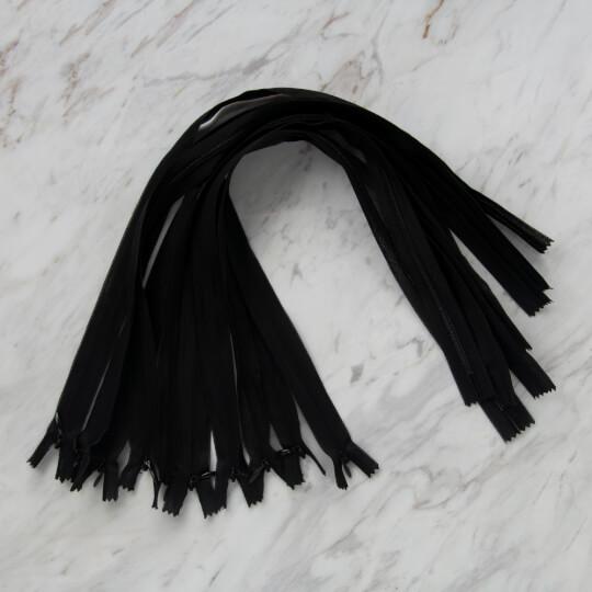Loren 10 adet 50 Cm Siyah Gizli Dipli Naylon Fermuar