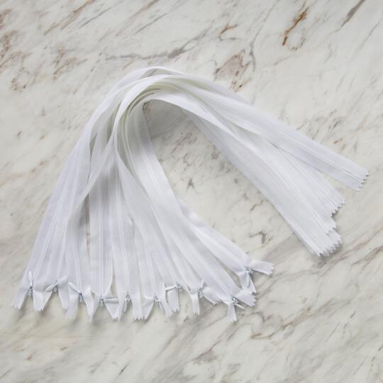 Loren 10 adet 50 Cm Beyaz Gizli Dipli Naylon Fermuar