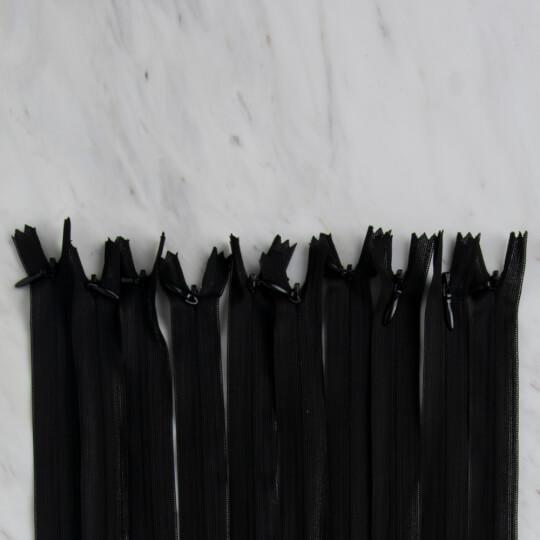 Loren 10 adet 35 Cm Siyah Gizli Dipli Naylon Fermuar