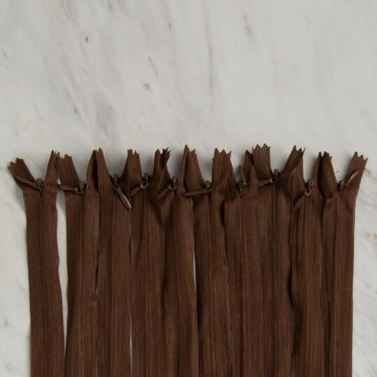 Loren 10 adet 35 Cm Kahverengi Gizli Dipli Naylon Fermuar