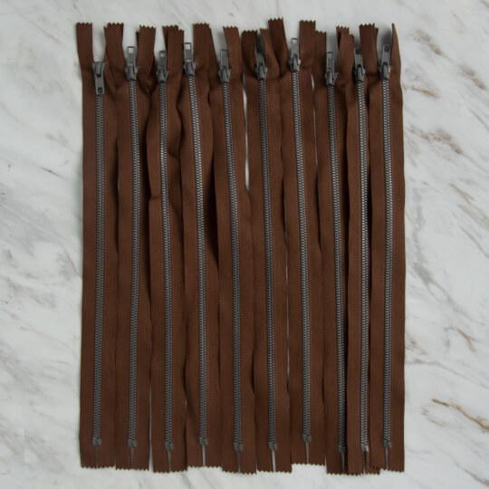 Loren 10 adet 35 Cm Kahverengi Dipli Kemik Fermuar