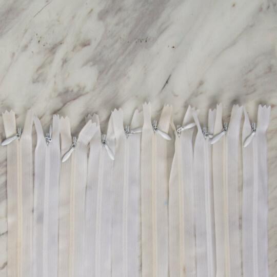 Loren 10 adet 60 Cm Beyaz Gizli Dipli Naylon Fermuar