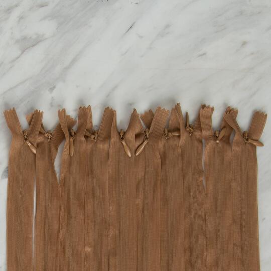 Loren 10 adet 70 Cm Açık Kahverengi Gizli Dipli Naylon Fermuar