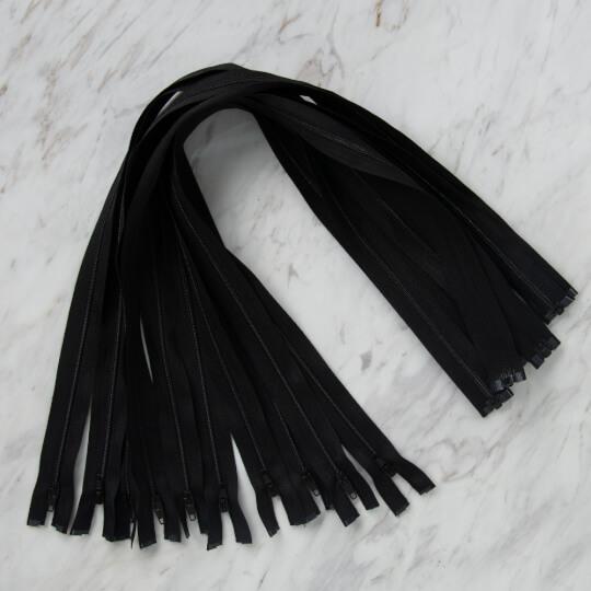 Loren 10 adet 60 Cm Siyah Separe Naylon Fermuar