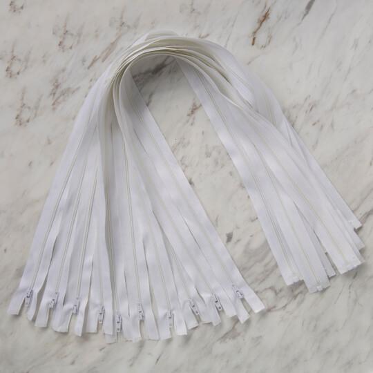 Loren 10 adet 70 Cm Beyaz Separe Naylon Fermuar