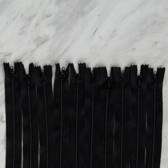 Loren 10 adet 70 Cm Siyah Dipli Naylon Fermuar