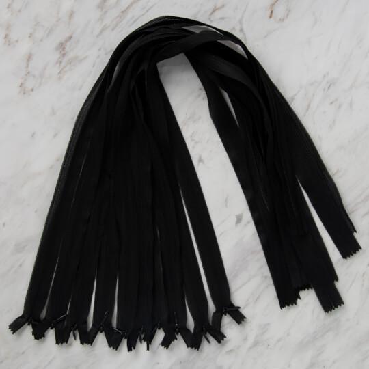 Loren 10 adet 70 Cm Siyah Gizli Dipli Naylon Fermuar