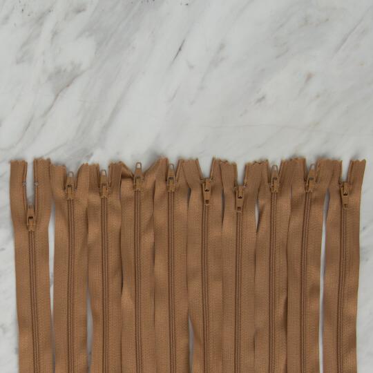 Loren 10 adet 80 Cm Açık Kahverengi Dipli Naylon Fermuar