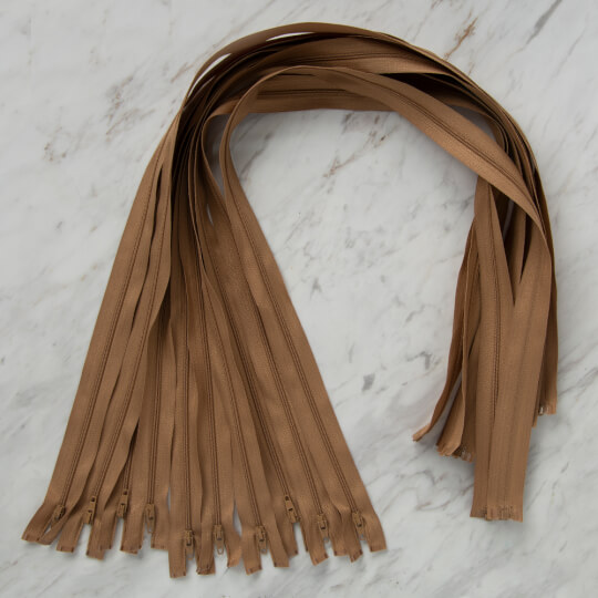 Loren 10 adet 80 Cm Açık Kahverengi Separe Naylon Fermuar