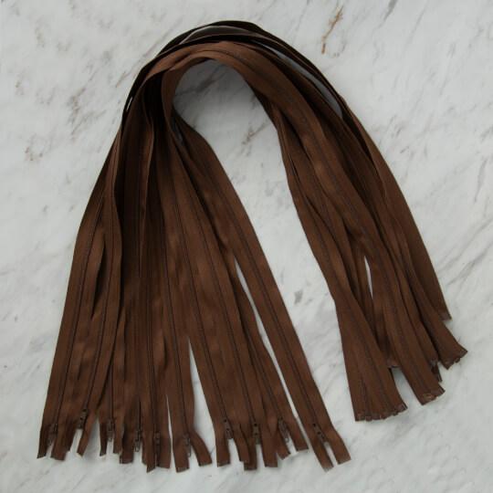 Loren 10 adet 80 Cm Kahverengi Separe Naylon Fermuar