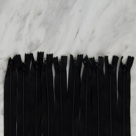 Loren 10 adet 80 Cm Siyah Dipli Naylon Fermuar
