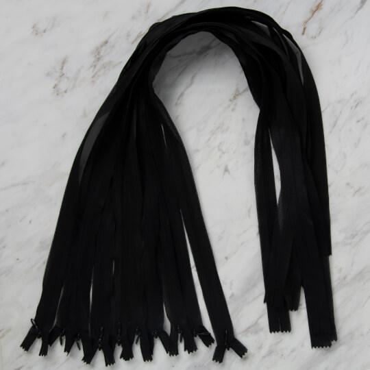 Loren 10 adet 80 Cm Siyah Gizli Dipli Naylon Fermuar