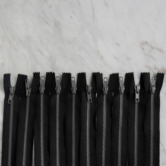 Loren 10 adet 16 Cm Siyah Dipli Kemik Fermuar