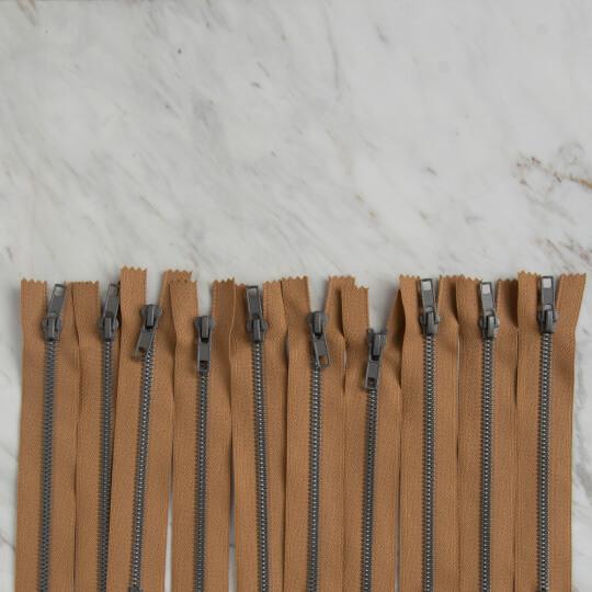 Loren 10 adet 16 Cm Açık Kahverengi Dipli Kemik Fermuar