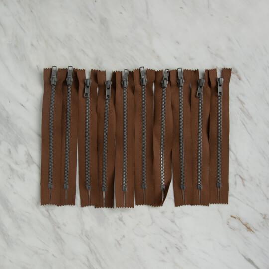 Loren 10 adet 18 Cm Kahverengi Dipli Kemik Fermuar