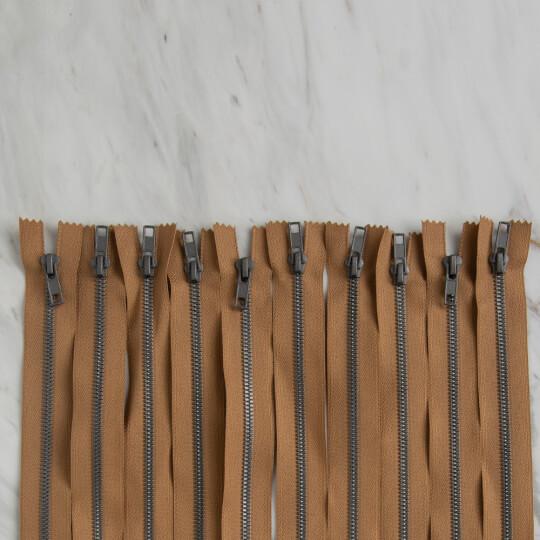 Loren 10 adet 30 Cm Açık Kahverengi Dipli Kemik Fermuar