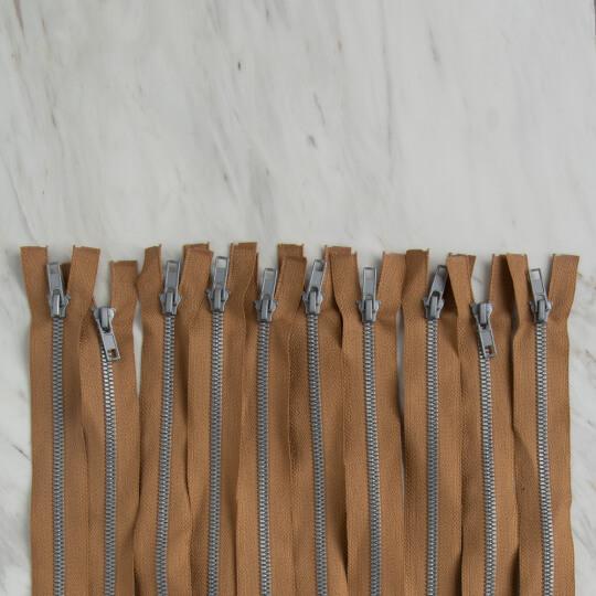 Loren 10 adet 30 Cm Açık Kahverengi Separe Kemik Fermuar