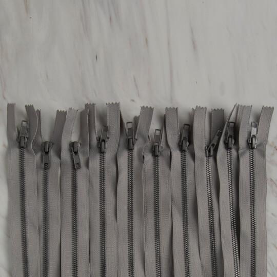 Loren 10 adet 35 Cm Açık Gri Dipli Kemik Fermuar