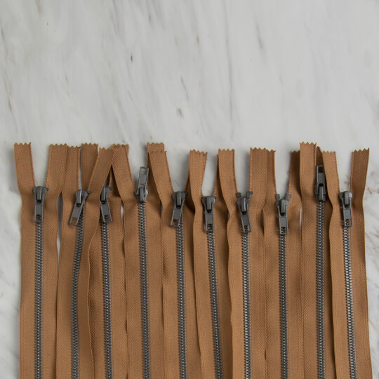 Loren 10 adet 35 Cm Açık Kahverengi Dipli Kemik Fermuar