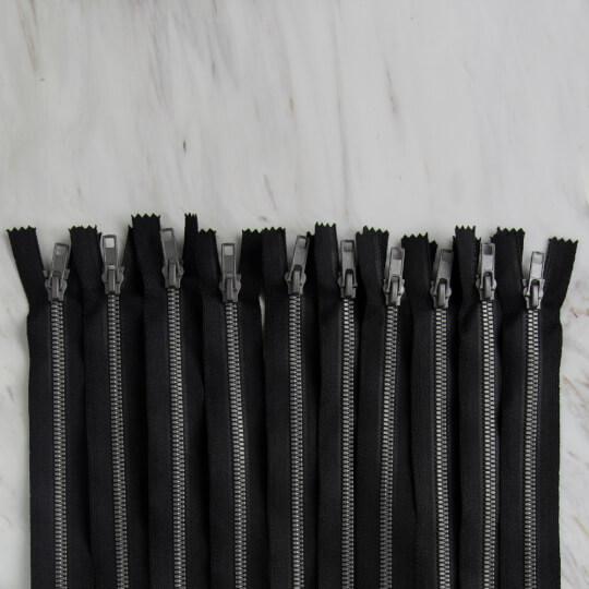 Loren 10 adet 40 Cm Siyah Dipli Kemik Fermuar