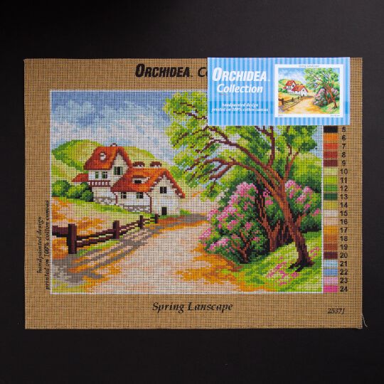 ORCHİDEA 30 x 40 cm İlkbbahar Manzaralı Baskılı Goblen 2537J