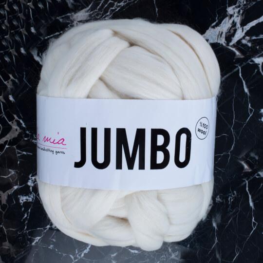 La Mia Jumbo Krem Dev Yün El Örgü İpi - J1