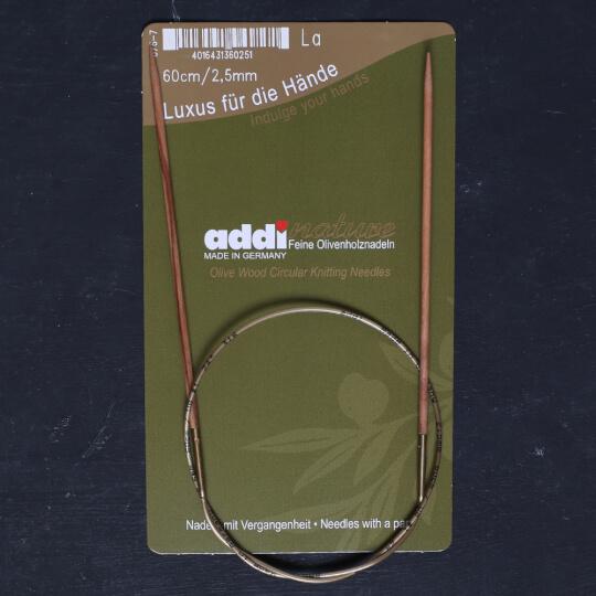 Addi Olive Wood 2,5 mm 60 cm Zeytin Ağacı Misinalı Örgü Şişi - 575-7