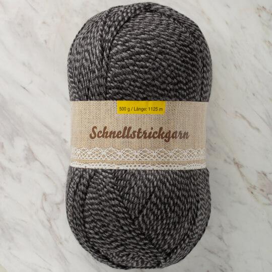 Schnellstrickgarn 500 gr. Kırçıllı Siyah - Gri El Örgü İpliği