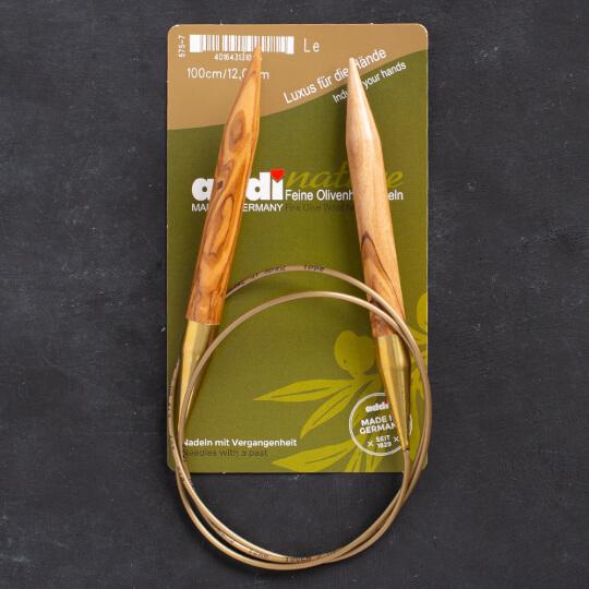 Addi Olive Wood 12 mm 100 cm Zeytin Ağacı Misinalı Örgü Şişi - 575-7